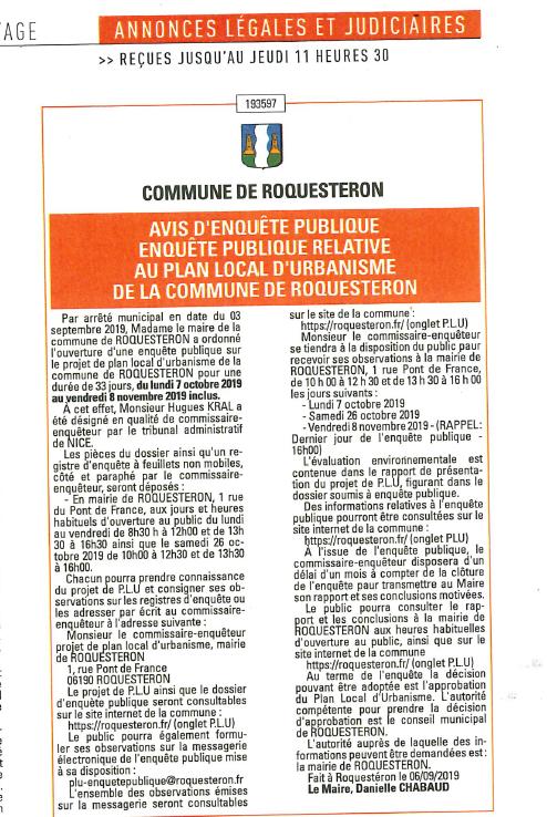 Avis enuête publique PLU commune de Roquestéron